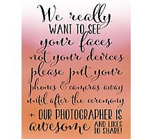 Wedding Photography 6 - Pink and Orange Photographic Print