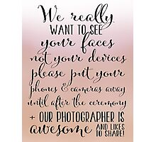 Wedding Photography 7 - Blush Photographic Print