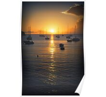 Sea Sunset Waves Poster
