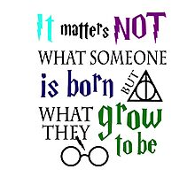 not is born grow to be harry potter quote Photographic Print