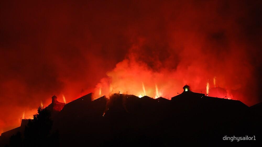 castle on fire by dinghysailor1
