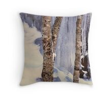BIRCH TREES IN ICE Throw Pillow