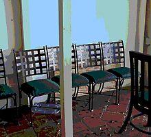 ...abandoned chairs in breezeway... by Lynne Prestebak