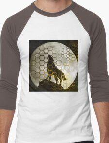 Wolf on cyber mountain Men's Baseball ¾ T-Shirt