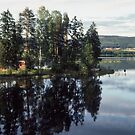 Camping ground on lake near Jarvso Sweden 198406170016  by Fred Mitchell