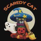Funny Halloween Scaredy Cat by Jamie Wogan Edwards