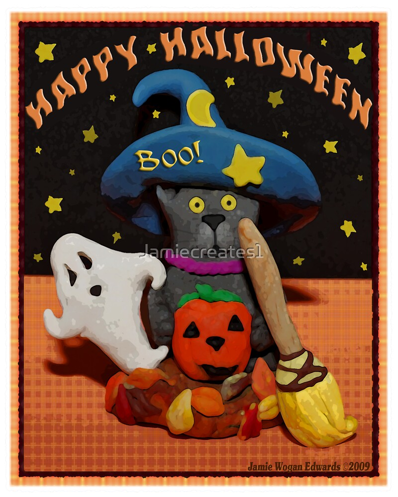 Halloween Scared Cat Art  Poster  by Jamie Wogan Edwards