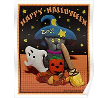 Halloween Scared Cat Art  Poster  Poster
