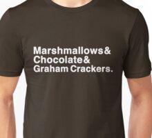 Marshmallows & Chocolate & Graham Crackers (white letters) Unisex T-Shirt