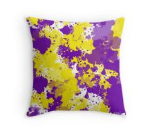 Yellow and Purple Splatter Throw Pillow