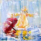 I Love Rain: Palette Knife painting by Alma Lee by Alma Lee