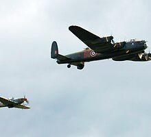 Lancaster with Hurricane escort by Wayne Gerard Trotman