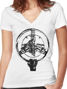 Mad Max Wheel Stencil Design Women's Fitted V-Neck T-Shirt
