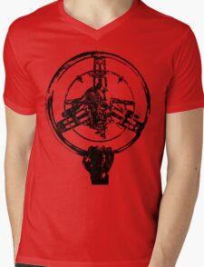Mad Max Wheel Stencil Design Mens V-Neck T-Shirt