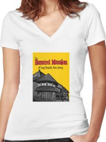 The Haunted Mansion of Long Branch NJ Women's Fitted V-Neck T-Shirt