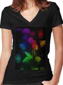 Jellyfish Rainbow Women's Fitted V-Neck T-Shirt