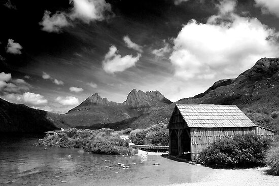 Boathouse at Dove Lake, Tasmania by Elana Bailey