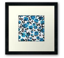 Rustic Blue and Black Stem Rose Pattern Framed Print