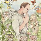 Francis of Assisi with the Animals by morgansartworld