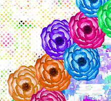 Bright Colorful Summer Watercolor Flowers and Dots by Blkstrawberry
