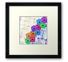 Bright Colorful Summer Watercolor Flowers and Dots Framed Print