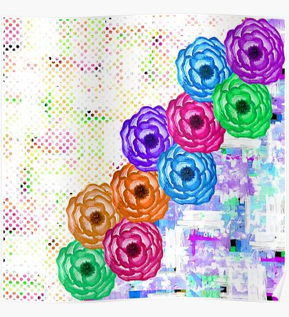 Bright Colorful Summer Watercolor Flowers and Dots Poster