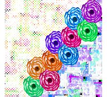 Bright Colorful Summer Watercolor Flowers and Dots Photographic Print