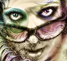 Pastel Fractal Layered Self Portrait by Julie Everhart