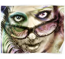 Pastel Fractal Layered Self Portrait Poster