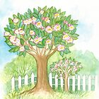 SPRING BLOOMING APPLETREES BEHIND A WHITE FENCE  by RubaiDesign