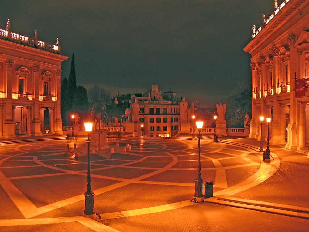 Piazza Campodoglio at midnight, Rome, Italy by Trine