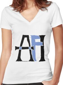 AFI - AFI Black and Blue Women's Fitted V-Neck T-Shirt