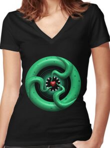 Cthulhu Heart Women's Fitted V-Neck T-Shirt