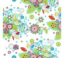 Colorful Abstract Floral Seamless Pattern Photographic Print