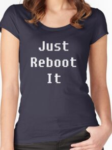 Just Reboot It - white on blue Women's Fitted Scoop T-Shirt