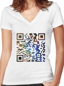 QR Code Galaxy Eagle Women's Fitted V-Neck T-Shirt