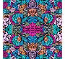 Colorful Abstract Floral Collage Seamless Pattern Photographic Print