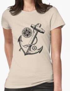 Vintage Nautical Anchor Design Womens Fitted T-Shirt