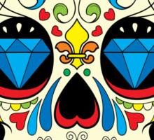 Colorful Retro Floral Sugar Skull Sticker
