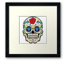 Colorful Retro Floral Sugar Skull Framed Print