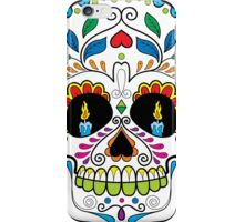 Colorful Retro Floral Sugar Skull 2 iPhone Case/Skin