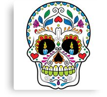 Colorful Retro Floral Sugar Skull 2 Canvas Print