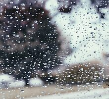raindrops on window by abbysreign