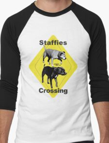 Staffies Crossing Sign Men's Baseball ¾ T-Shirt