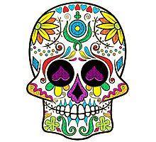 Colorful Floral Sugar Skull 3 Photographic Print