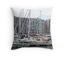 Yachts and a chat - Blankenberg - Belgium Throw Pillow