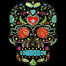 Colorful Floral Sugar Skull Glitter And Gold 2 by artonwear