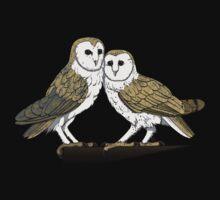 Barn Owl Couple (shirt) by Kathleen Barsness