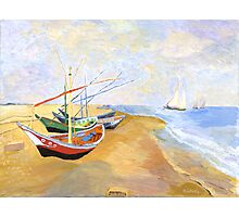 Boats On The Beach At Saintes-Maries after Van Gogh Photographic Print