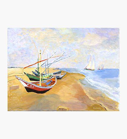 Boats On The Beach At Saintes-Maries after Van Gogh Photographic Print